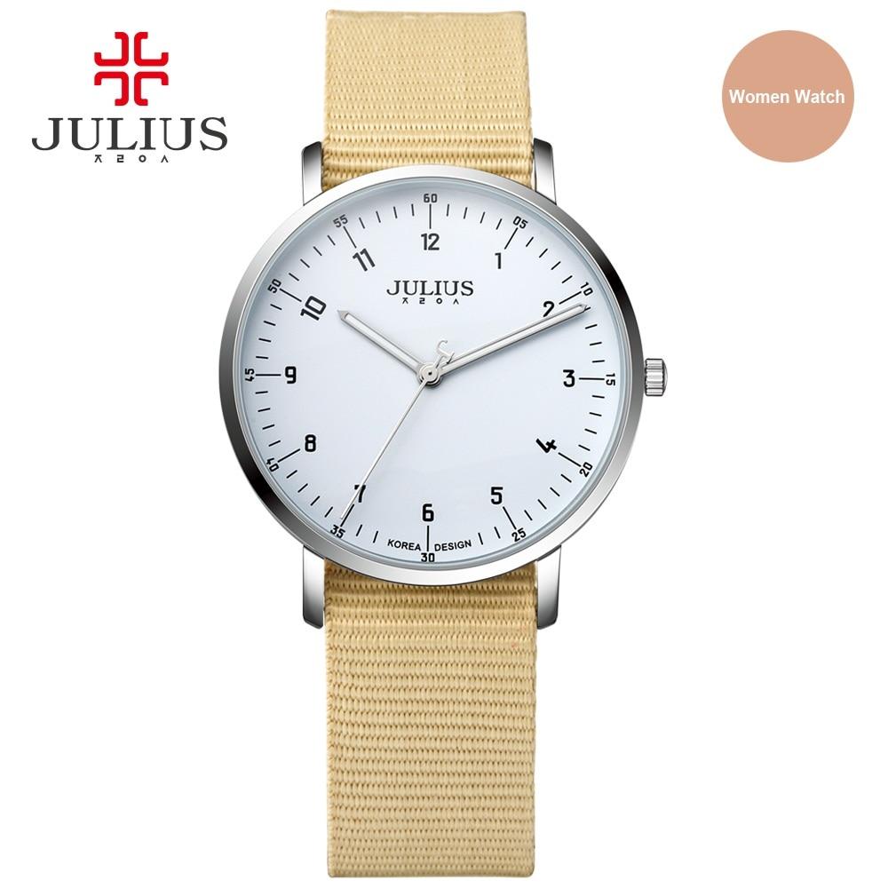 Reloj ultradelgado JULIUS, reloj de pulsera de cuarzo resistente al agua con correa de nailon para mujer, reloj de pulsera de diseño informal para mujer, reloj de pulsera con JA-914