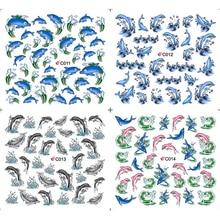 4 PACKS / LOT BIG FISH DOLPHIN WAVE SEA NAIL TATTOOS STICKER WATER DECAL NAIL ART C011-014