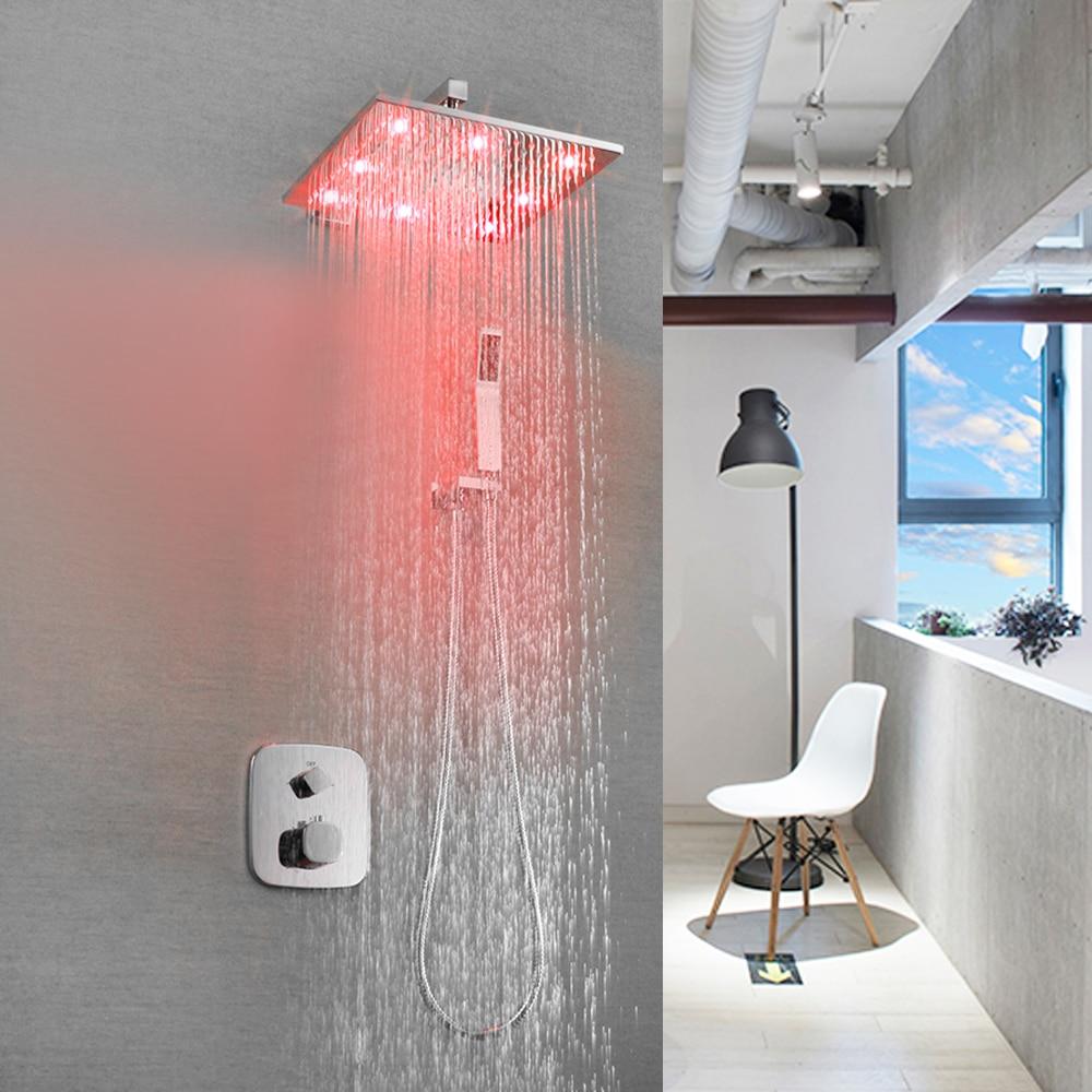SKOWLL LED Bathroom Shower Set Faucet Thermostatic Bath Shower Valve Chrome Shower Panel SK-7625