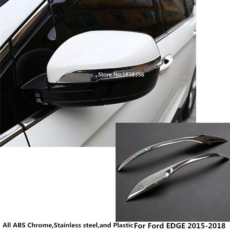 Couvercle de rétroviseur latéral   Pour Ford EDGE 2015 2016 2017 2018 carrosserie de voiture, ABS rétroviseur arrière chromé, bâtons de garniture cadre de lampe 2 pièces
