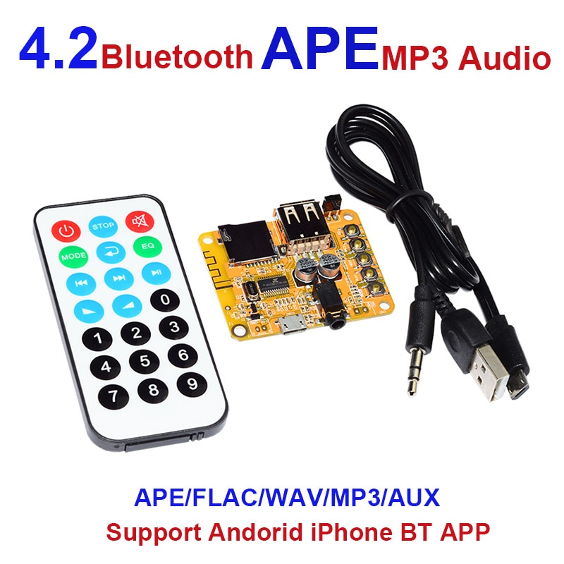 Tablero receptor de Audio Bluetooth 4,2 DC5V para coche compatible con módulo de sonido inalámbrico 3,5mm AUX FM DIY Bluetooth altavoces amplificadores