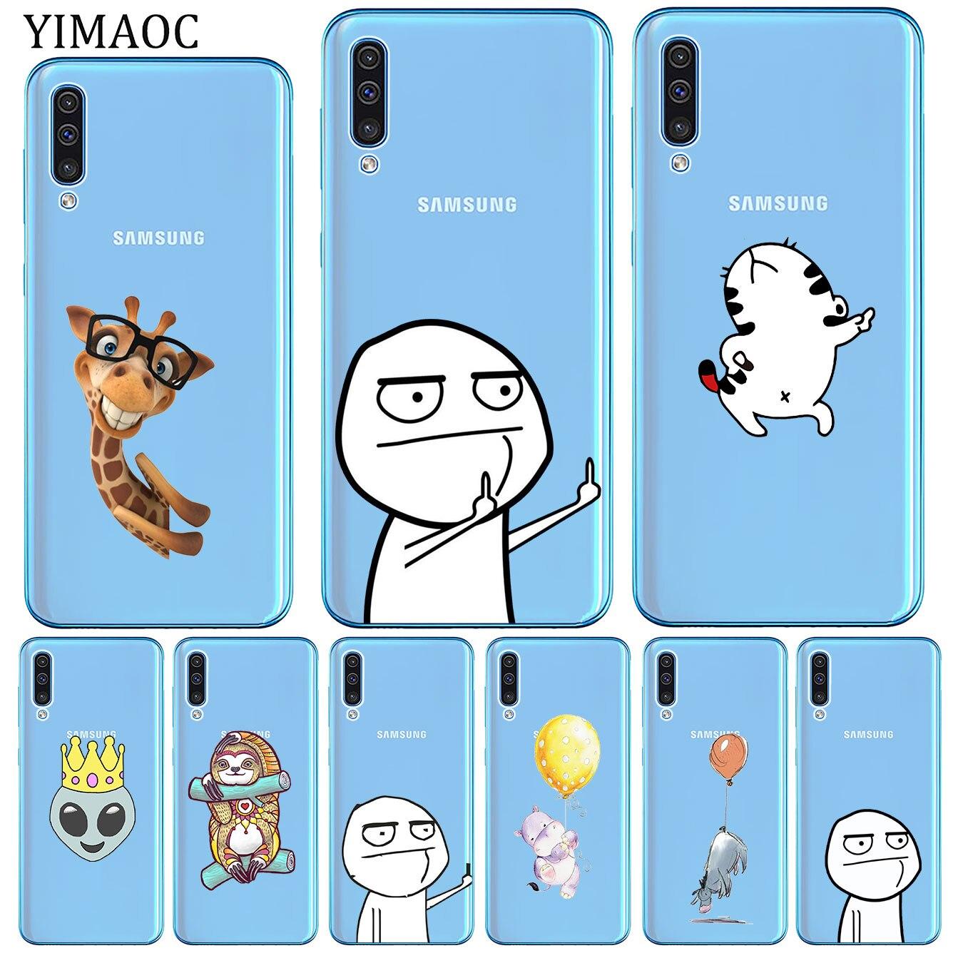 Meme gesicht Mittelfinger Lustige Cartoon Liebhaber Weichen Fall für Samsung Galaxy A70 A60 A50 A40 A30 A20 A10 M10 m20 M30 M40 A20E
