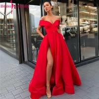 beauty emily elegant off the shoulder red evening dresses long sexy strapless sleeveless formal dress with high side split 2019