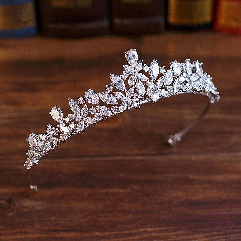 Tiara De zirconia cúbica para Novia, corona, accesorios para el cabello De...