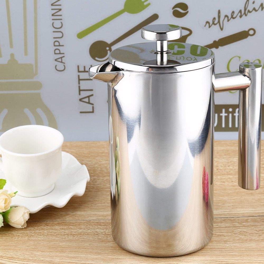 Cafetera francesa de acero inoxidable 1000ML cafetera permanente cesta para filtro de café expreso té doble pared Prensa Francesa