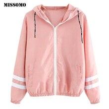 MISSOMO Clothes women coat spring 2019 female jacket Long Sleeve Patchwork Thin Skinsuits Hooded Zipper Pocket Sport  Coat Girls
