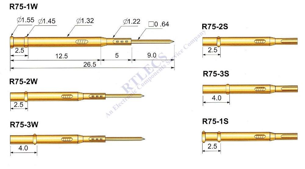 100 pcs Série R75 Receptáculo Sonda de Teste para o Teste de Mola Pino Pogo P75 Nua PCB 1.91 milímetros Tomada Campo escolher a ordem