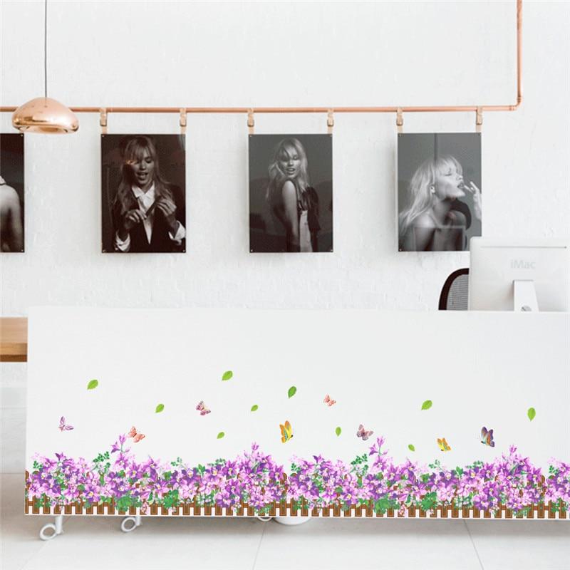 Flor violeta bonita mariposa trébol falda línea Flora diy Calcomanía para hogar artística pared pegatina muebles armario boda calcomanías
