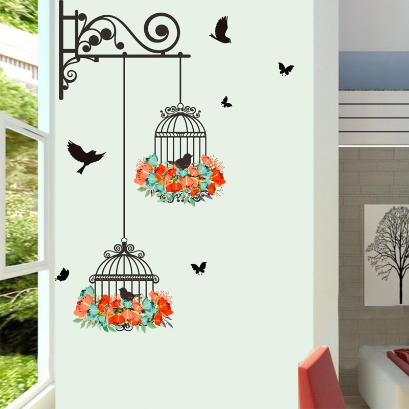 Colorful Flower birdcage flying birds wall sticker Creative home decor living room Decals wallpaper