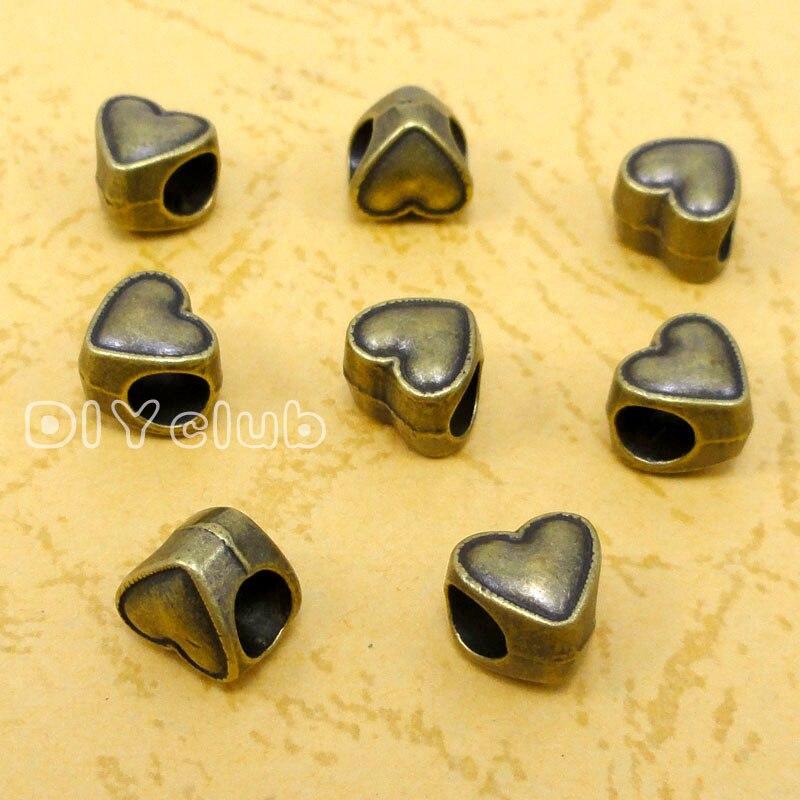 80pcs-antiguidade contas de coração de bronze perfeitas para braceletes de estilo europeu 9x8x8mm