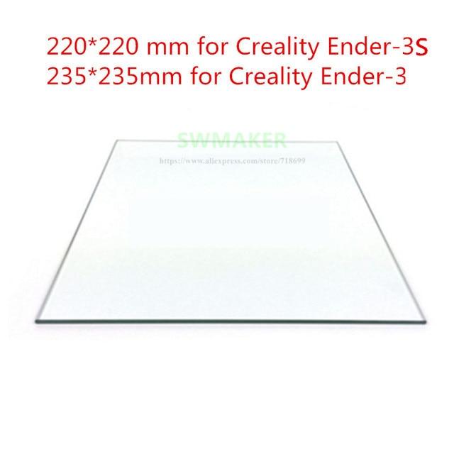 220/235 مللي متر البورسليكات الزجاج السرير 3 مللي متر/4 مللي متر سمك ل Creality Ender-3 / 3S 3D طابعة جزء حصيرة سطح ساخنة السرير