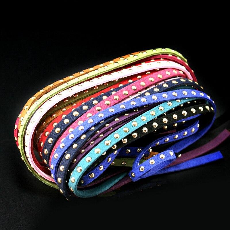 Top ventas, 10 unidades/lote, mezcla de diez colores, Corea, terciopelo, bronce, cordón imitación de gamuza con perno dorado ancho 5mm FXU005-99