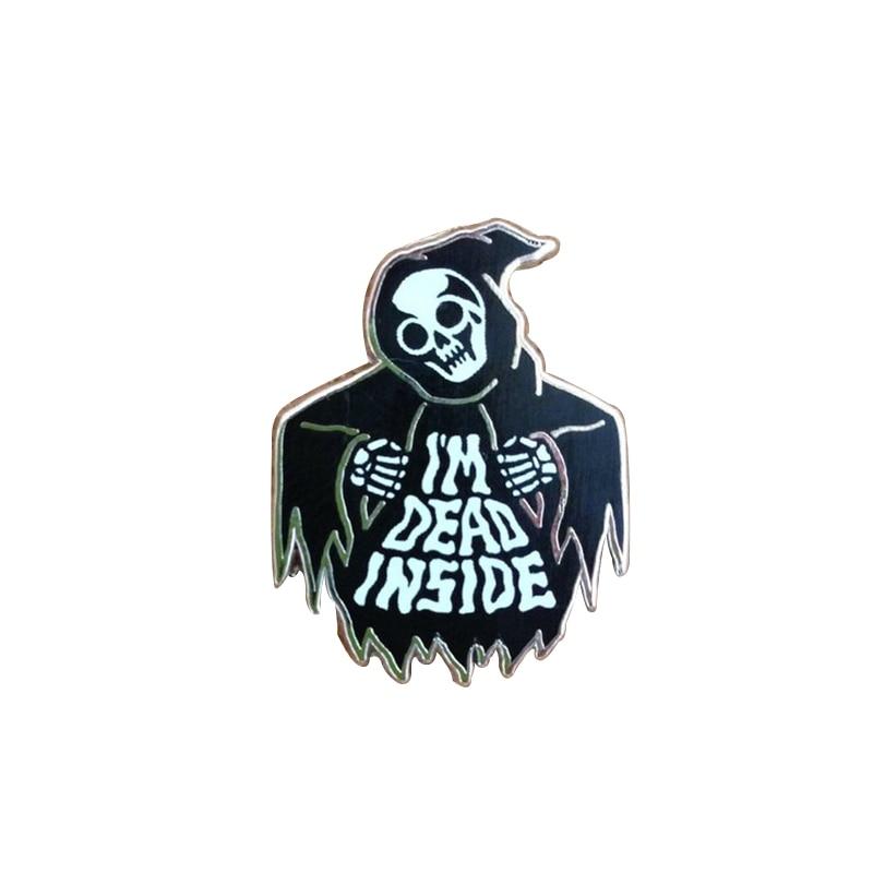 Estoy muerto dentro broche de esqueleto death Grim Reaper esmalte pin oscuro Halloween accesorio