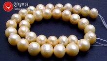 """Qingmos 12-13mm Rosa Perle Lose Perlen für Schmuck Machen mit Natürliche Runde Süßwasser-zuchtperlen Perlen Stränge 14 """"-los179 Freies Schiff"""