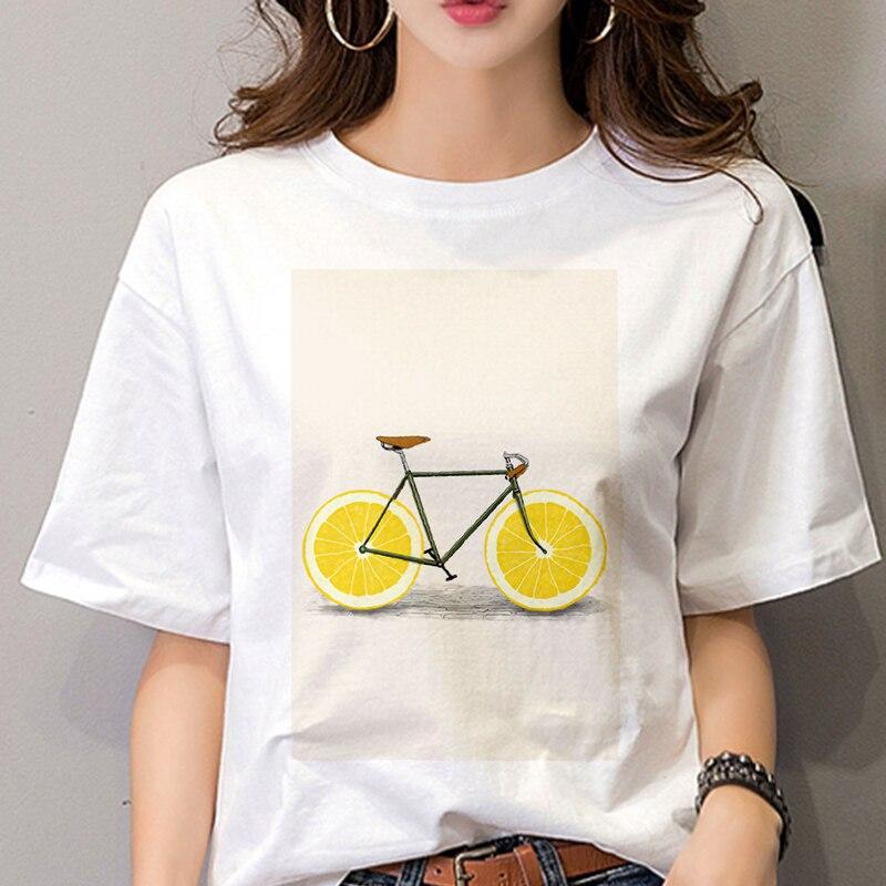 Nueva camiseta Femme pomelo bicicleta impreso sección delgada Tops TV show F. R. I. E. N. D. S camiseta 90 pivote amigos ropa Harajuku blanco Camiseta de manga corta