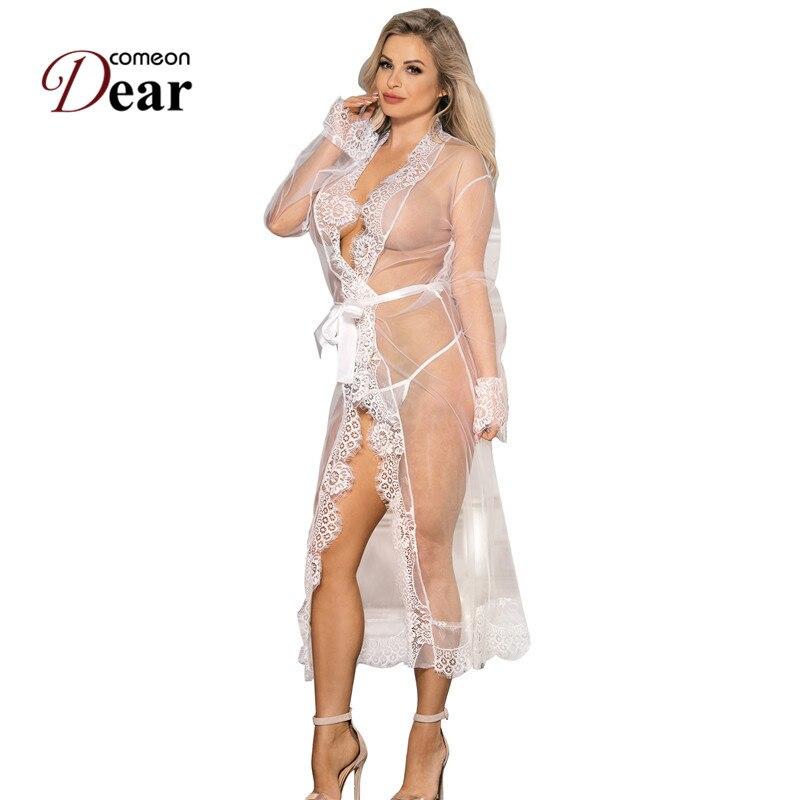 Comeondear vestidos de dama de honra lingerie casamento robe plus size noite sexy camisola sleepwear lingerie erótica quente rj80507