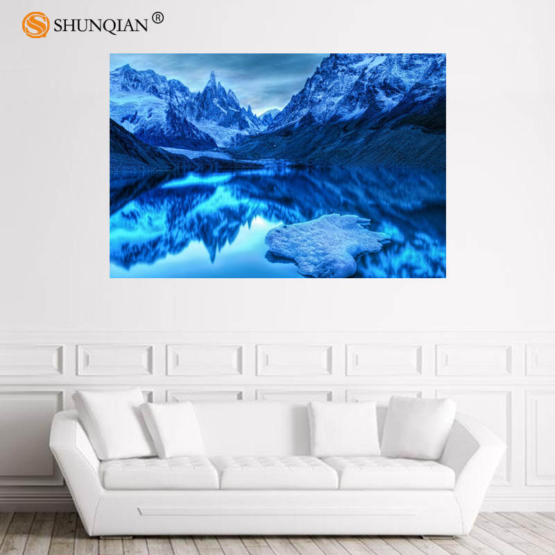 Póster de Río Nice Glacier Mountains, póster de satén personalizado, Impresión de tela, póster de pared, impresión, estampado de tela seda, póster 18-1-16