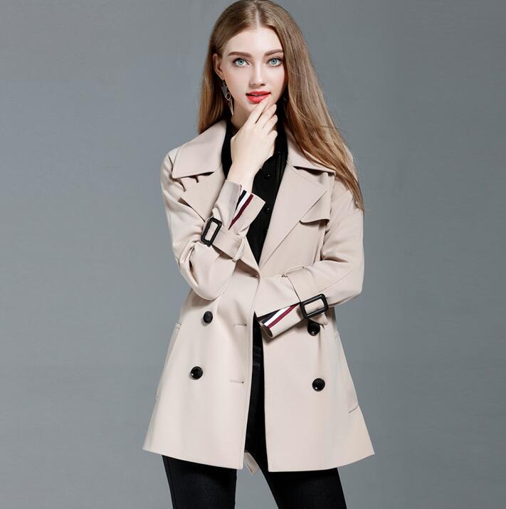 Gabardina mujer abrigo medio-largo 2019 primavera y otoño mujer gabardina suelta manga larga talla grande ropa de abrigo de oliva