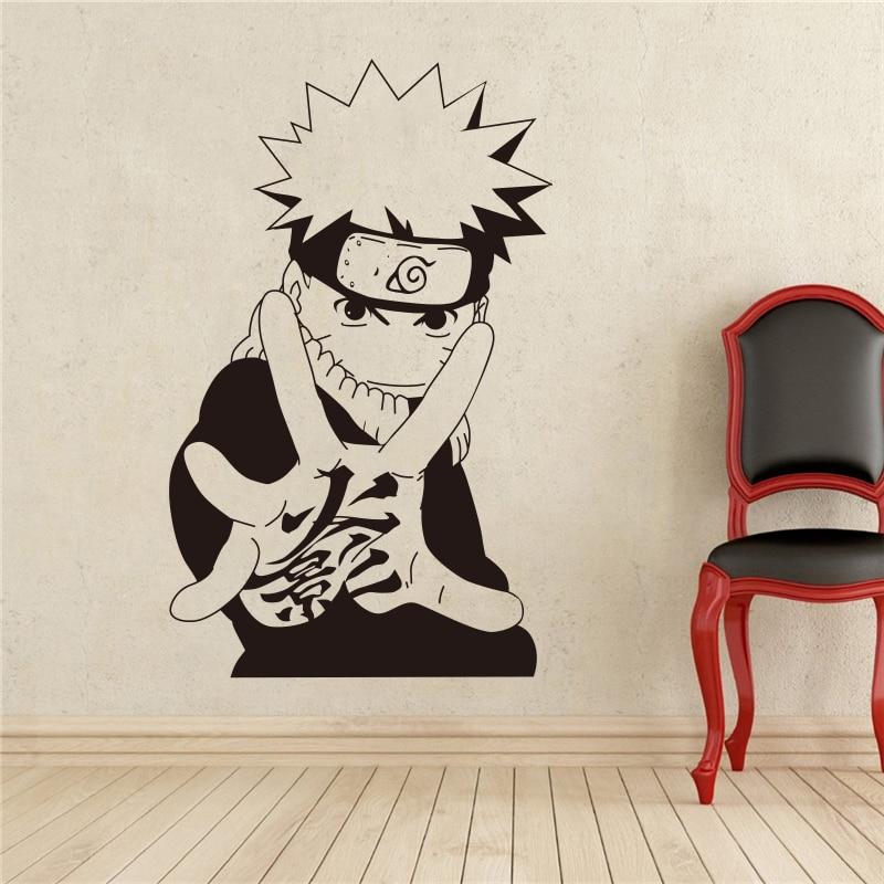 Calcomanía de pared de Naruto, calcomanía de vinilo de Manga japonesa, estilo Anime, decoración Interior de hogar, calcomanías personalizadas extraíbles