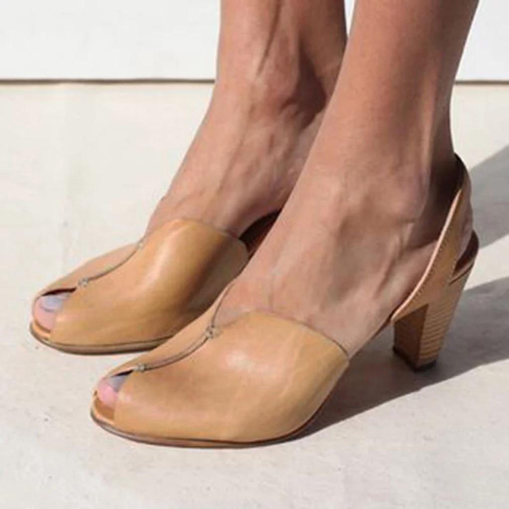 Square Heel Shoes Women's Ladies Ankle Elegant Casual Peep Toe Sandals Roman Shoes Shallow Mouth Single Boots Sandalia Feminina