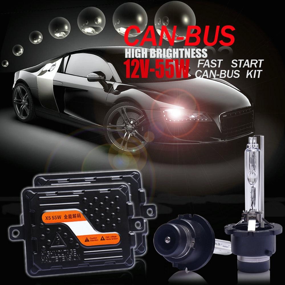 طقم مصباح أمامي للسيارة ، 12 فولت/55 واط ، فائق CANBUS ، سريع ومشرق ، زينون ، ثنائي زينون ، جودة عالية ، D2H/H1/H7/H11/9005/9012/HIR2/H4