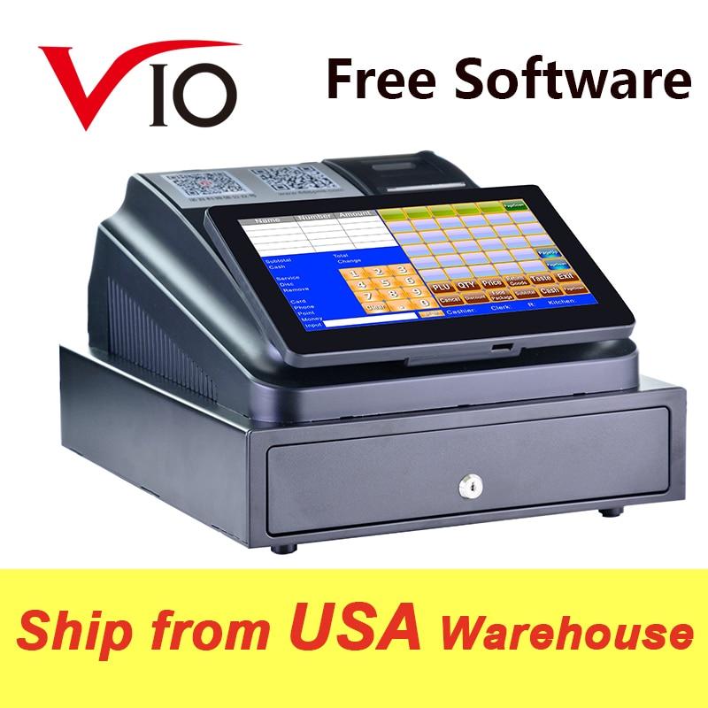 Con Software profesional POS, pantalla táctil de 10 pulgadas, sistema POS, máquina registradora ECR para restaurante o tienda minorista