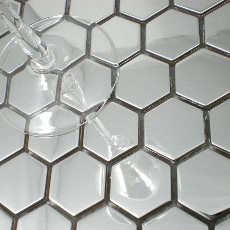 الحديث نمط العسل نمط الفولاذ المقاوم للصدأ قرميد فسيفساء معدني ، فضي اللون معدن بلاط موزيك للحوائط باكسبلاش HME8050
