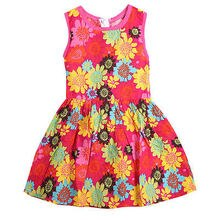 Monkids Summer Toddler Kids Girl Clothing Dresses Beautiful Flower Dress Princess Sleeveless Floral Lace Pierced  Dress RED