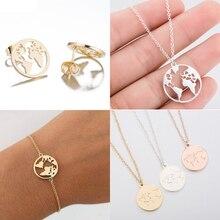 Jisensp acier inoxydable Origami carte du monde collier pour femmes bijoux simples colliers ronds pendentifs jour de la terre cadeau bijoux femme