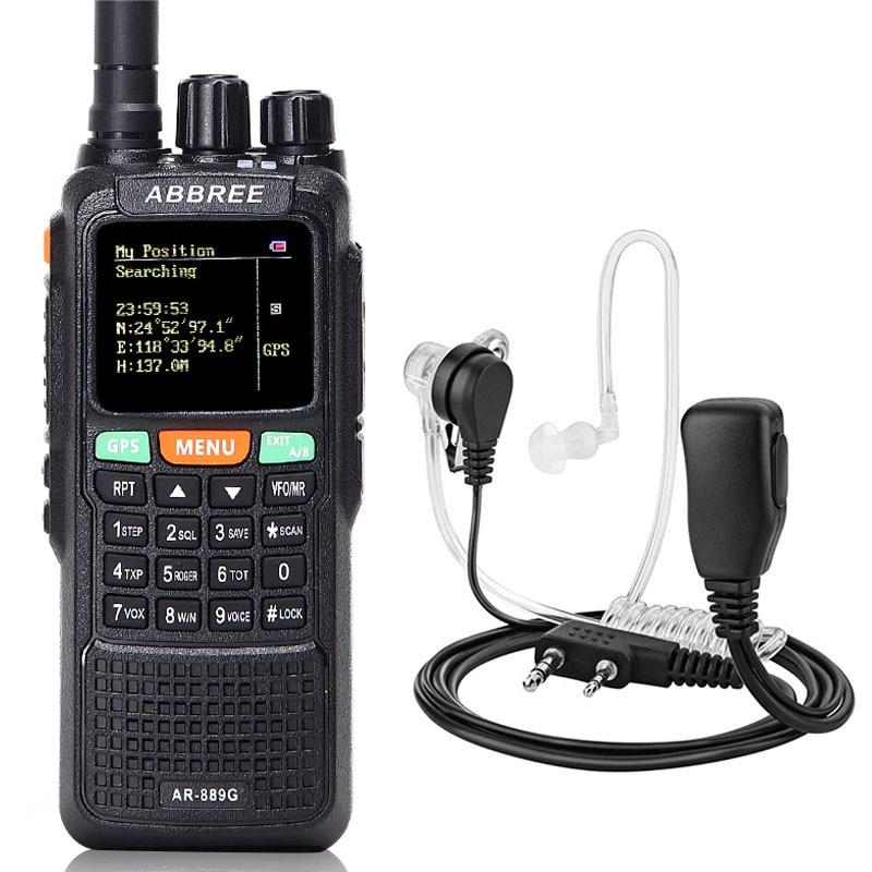 AR-889G Walkie Talkie con GPS, 10 vatios, retroiluminación nocturna, repetidor doble banda, doble receptor Ham CB, Radios + auriculares