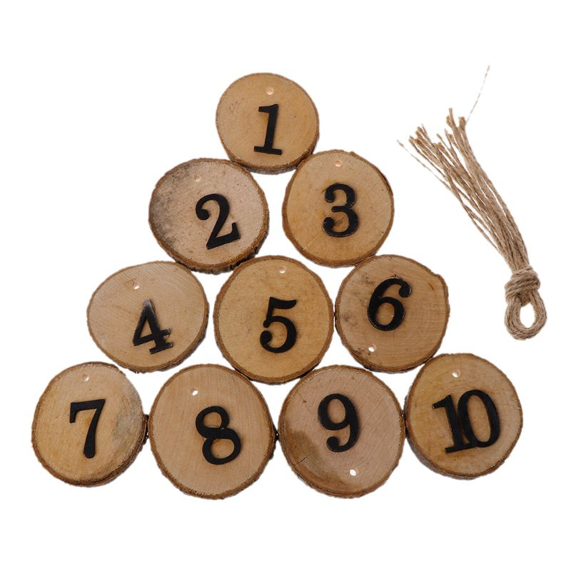 10 Uds. De troncos redondos de madera Natural para cortar corteza de árbol 1-10 números de mesa para decoración colgante de centro de mesa de boda