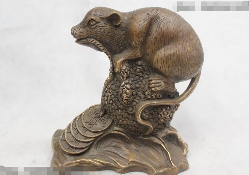"""S03114 9 """"Chinese Folk Bronce Puro excelente Lucky Money dibujo ratón Estatua"""