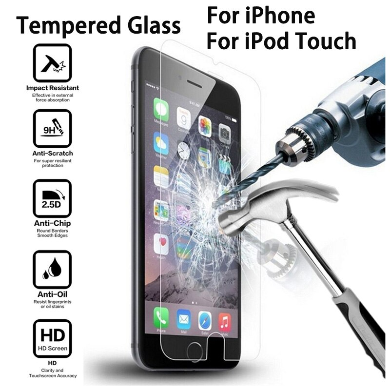 Защитная пленка из закаленного стекла для iPhone 7, 6, 6s Plus, 5, 5S, SE, 5C, 8 Plus, X, XS MAX, XR, iPod Touch, 6, 5