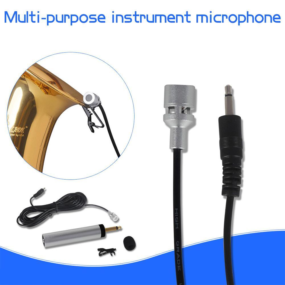 1/4 pulgadas jack Mini portátil con cable de solapa Lavalier Clip-on instrumento Musical Mic Pickup micrófono guitarra Sax trompeta violín Banjo