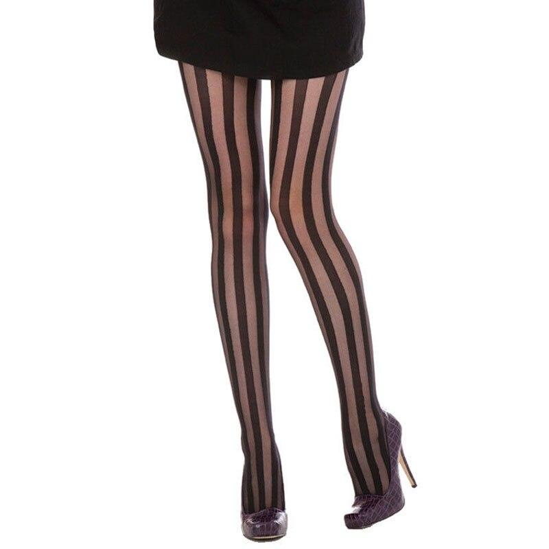 Pantimedias sexys de Raya Vertical ancha para mujeres y chicas, medias de nailon finas de estilo gótico Punk, medias negras de malla de alta calidad al por mayor