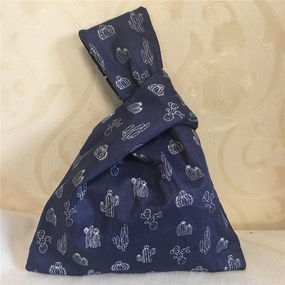 YILE NEW Cotton Twill Wrap Knot Wrist Bag Key Phone Wristlet Cactus  Opuntia Navy Blue Handmade W22