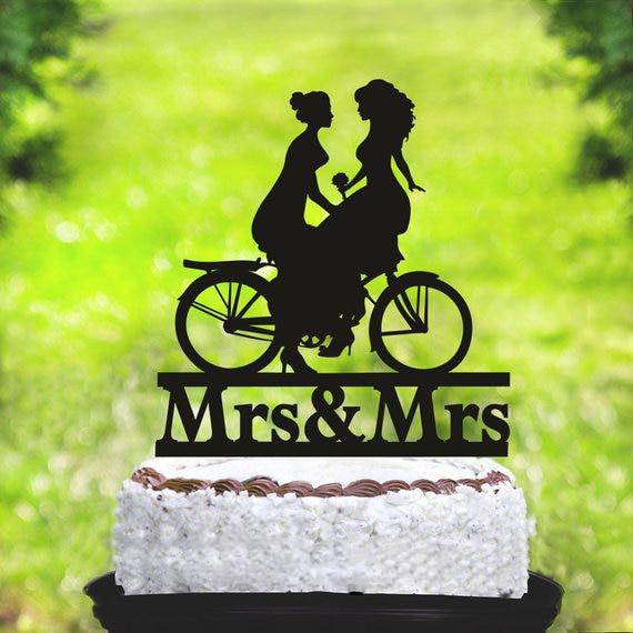 Decoración de pastel de boda para lesbianas, Decoración de Pastel para lesbianas con bicicleta, decoración de pastel del mismo sexo, Decoración de Pastel para señora y señora, silueta de lesbiana
