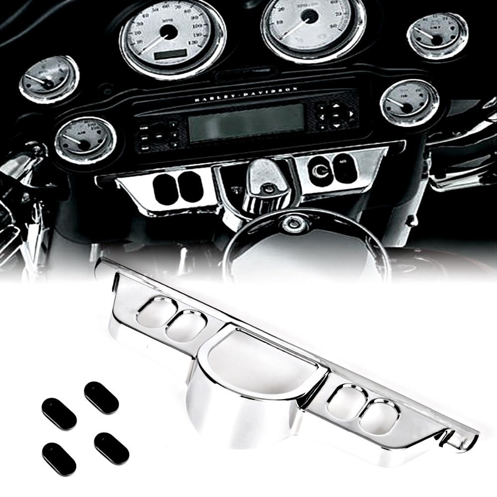 Krom Anahtarı Dash Panel Accent Kapak Için Harley Street Glide 06-13 Triks 09-13 Electra Glide 96 -13 modelleri
