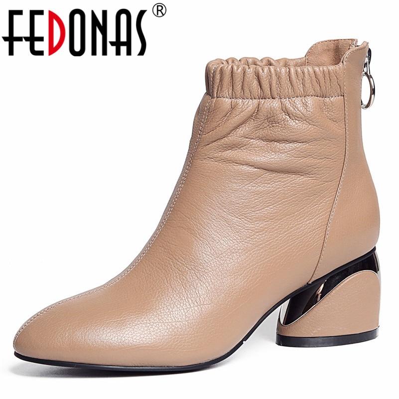 Marca FEDONAS, botines para mujer, calzado con tacón alto, cremallera para damas, piel auténtica Sexy con cremallera, zapatos de oficina, botas para mujer