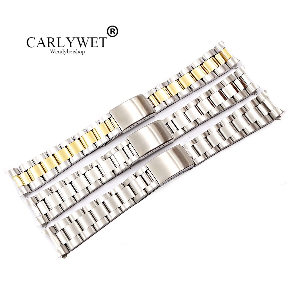 CARLYWET 19 20mm 316L Stainless Steel Two Tone Gold Silver Watch Band Bracelet Hollow Curved End For Vintage Oyster