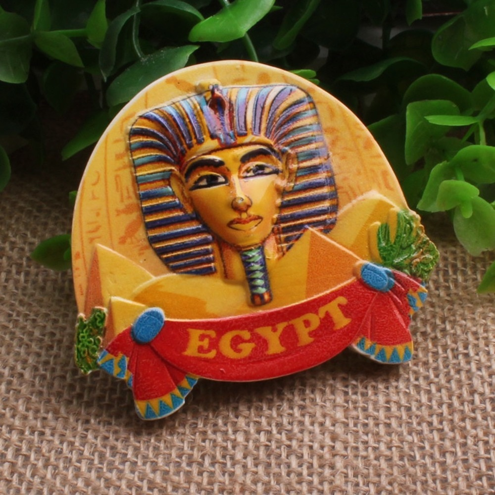 Suvenir uso y característica Regional de África Rey Tut Ankh Amun estatua escultura imán de nevera de resina para regalo de recuerdo egyption