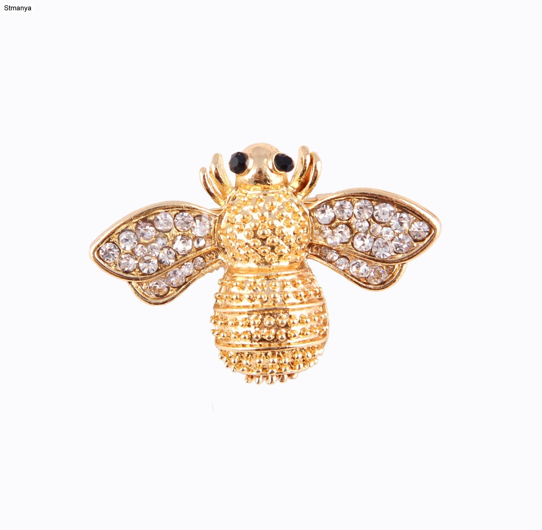 Moda Strass pequena abelha Bonito pin broche Mulheres homens Cachecol Xale Fivela H1087 broches Presente da jóia Por Atacado