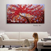 large palette 3d paintings hand painted knife gold tree oil painting on canvas modern abstract wall art picture for living room