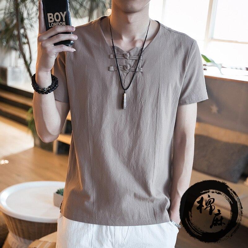 2020 Fashion Mens flax casual Slim Fit Short sleeve T-Shirts Stylish Men V Neck Cotton T Shirt Tops Tee Plus Size M-5XL 6XL 7XL