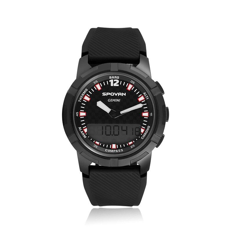 Spovan relógio digital do esporte dos homens militar qualidade silicone à prova dwaterproof água relógio de pulso inteligente temperatura causal masculino causal saat