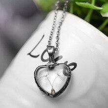 Doreen Box nouveau créatif en forme de coeur pissenlit pendentifs collier naturel séché fleur pour les femmes fête Club mode chaîne bijoux