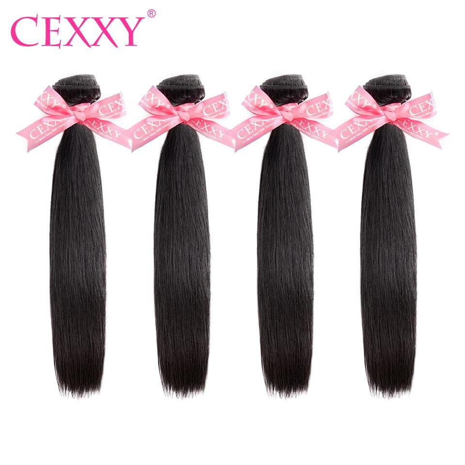 Cexxy 4 pacotes de cabelo humano feixes tecer cabelo brasileiro feixes cabelo virgem em linha reta cor natural longo cabelo frete grátis