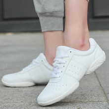 Adult Dance Sneakers Women's White Jazz/Square Dance Shoes Competitive Aerobics Shoes Fitness Gym Sh