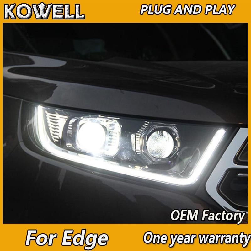 KOWELL Car Styling para Ford Edge Headlights 2015 2016 2017 Nuevo LED de borde faro DRL Luz de circulación diurna bi-xenon HID Accesso