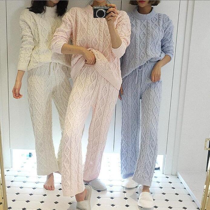 Unicórnio pijamas apressado pijamas 2018 inverno casa conjunto doce cor camisola + perna larga calças pijamas 2 conjuntos de serviço pijama